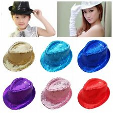 Women Kids Dance Sequin Jazz Party Club Fedora Show Hat Stage Performance Cap
