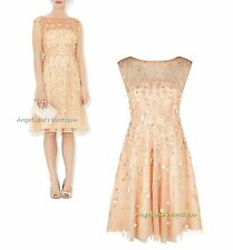 MONSOON FLORENCE GOLD/NUDE SEQUIN BEAD EMBELLISHED OCCASION DRESS  6-14 NEW £229