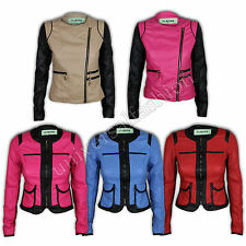 Womens Jacket Ladies Biker Leather Coat Spikes Stitch Contrast Zip Casual