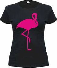 "Girls T-Shirt "" FLAMINGO "" - black/rosa - S - XL - rockabilly phoenicopterus"
