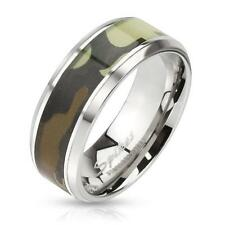 Coolbodyart Silver Stainless Steel Ring 8mm Wide Ring With Green Camo Inlay