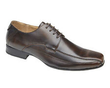 MENS LEATHER LINED BROWN LACE UP FORMAL DRESS CASUAL 4 EYE TRAMLINE SHOE UK 6-12