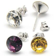 Swarovski Elements Xilion Chaton stud earrings-7.1mm-Crystal&925 Sterling silver