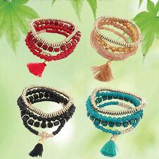 Women Girl Cuff Jewelry Bohemian Multilayer Bangle Tassels Sweet Beads Bracelet