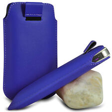 VARIOUS MOBILE PHONE BLUE PU LEATHER PULL TAB POUCH CASE COVER HOLSTER SKIN