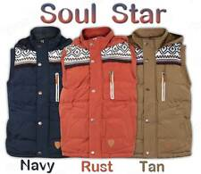 D2 Mens Soul Star Padded Hooded Quilted Gilet Aztec Patches Bodywarmer Jacket
