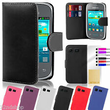 Samsung Galaxy Pocket Neo leather wallet case + free screen protector & stylus