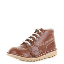 Kickers Junior Kick Hi Core Leather Lace Up Dark Tan Ankle Boots Uk Size