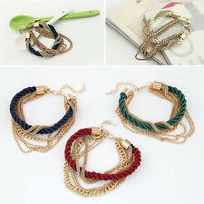 Hot Sale Multilayer Twisted Bangle Woven Leather Metal Chain Bracelet Jewelry