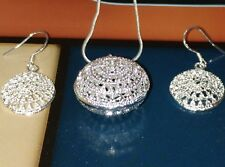 Silver Necklace And Earrings Set/Shimmering Silver Necklace And Earring Set
