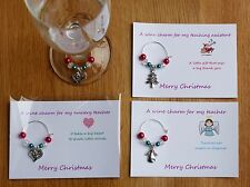 Teacher gift, Nursery teacher, Teaching assistant. Christmas Wine charm & card