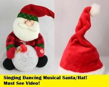 Xmas Singing Dancing Animated Santa Claus Father Christmas Musical Party Hat