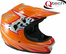 Children's Kids MOTOCROSS Crash Helmet Off Road BMX Dirt Mountain Bike - ORANGE