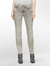 calvin klein womens ultimate skinny painted brushed distressed grey wash jeans
