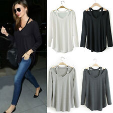 Fashion Womens Long Sleeve Blouse Sexy V Shirt Loose Casual Party Tops T-Shirt