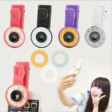 Clip-on Mobile Phone Selfie 8 LED Flash Light Lamp Wide Angle Lens for iPhone