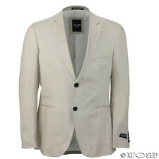 Mens Cream Linen Blend Casual Fitted Blazer Italian Designer Suit Coat Jacket