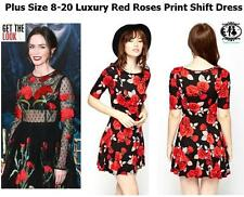 LADIES PLUS SIZE 8-20 RED ROSES DESIGNER STYLE DRESS SKATER TUNIC SHIFT PARTY