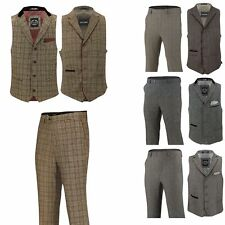 Mens Brown Grey Herringbone Tweed Checks Slim Fit Trousers Vintage Waistcoat Set