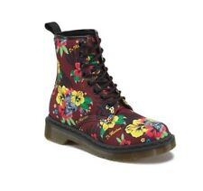 NEW IN BOX WOMENS 7 10 DR MARTENS CASTEL CHERRY RED HAWAIIAN PUNK T CANVAS BOOTS