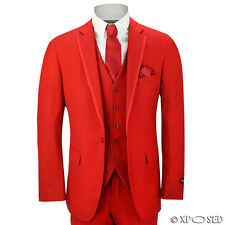 Mens 3 Piece Red Fitted Classic Suit Wedding Prom Party Blazer Trouser Waistcoat