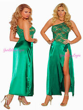 Plus Size JADE Charmeuse LONG GOWN High Split LEG One Shoulder Rose Detail QUEEN