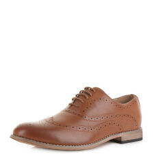 Mens Tan Brown Lace Up Brogue Smart Casual Formal Dress Shoes Uk Size