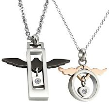 His and Hers Stainless Steel Crystal Angle Wings Heart Pendant Couple Necklace