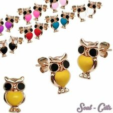 One Pair Trendy Stud Earrings owl Children many colors Earring owl red black