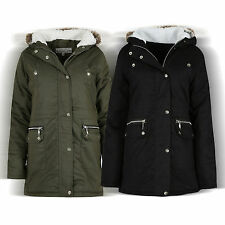 NEW WOMEN'S LADIES PARKA HOODED FAUX FUR JACKET WINTER MILITARY COAT JACKET