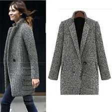 Fancy Women Gray Lapel Houndstooth Thick Long Parka Coat Trench Jacket Outwear