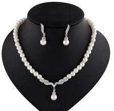Wedding Bridal Crystal Rhinestone White Pearl Necklace Earrings Gift Jewelry Set