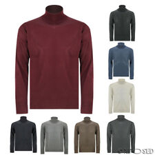 Mens Wool Mix Knit Polo Roll Turtle Neck Jumper Sweater Pullover Size M L XL 2XL