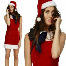 Ladies Miss Santa Christmas Mrs Adult Fancy Dress Costume Xmas Outfit