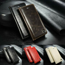 Classic Vintage Leather Wallet Flip Case Stand Cover for iPhone Samsung Galaxy