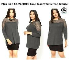 LADIES PLUS LARGE XXXL SIZE 18-32 GREY LACE CASUAL TOP BLOUSE DRESS WORK OFFICE