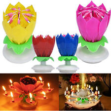 Birthday Christmas Magical Amazing Blossom Lotus Musical Rotating Candle Flower