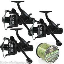 3 x DYNAMIC 6000 CARP FISHING FREE RUNNER REELS 10BB SPARE SPOOL WITH CAMO LINE