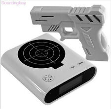New Lock N' Load Gun Alarm Target Shooting Clock Novelty Gift Laser Lcd Panel