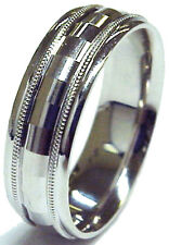 Stunning 7mm Wide 14k White Gold Diamond Cut Comfort Fit Men's Wedding Band Ring