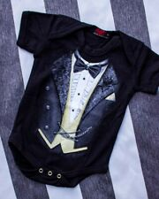 Spiral Clothing Tuxed Onesie Romper Baby Gothic Steampunk Cute Emo Gift Black