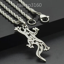 "Stainless Steel Dog Tag Pendant Animal Lizard 3mm Chain 18-30"" Gift Necklace 71M"
