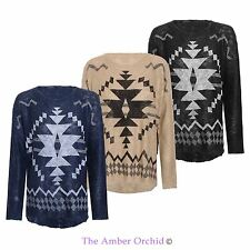 WOMENS LADIES HI LOW GEOMETRIC AZTEC KNITTED OVERSIZED LOOSE JUMPER ONE SIZE TOP