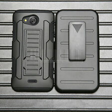 Shockproof Rubber Armor Hybrid Holster Case Cover For Kyocera Hydro Wave / Air