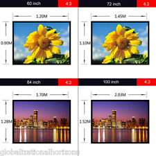 "Portable Home Cinema 60"" 72"" 84"" 100"" 120"" Projection 16:9 4:3 Projector Screen"