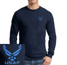 United States Air Force EMBROIDERED Long Sleeve Navy Blue T Shirt  US Military
