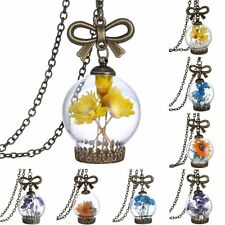 Fashion Wish Bottle Glass Natural Dried Flower Pendant Necklace Jewelry Gift New