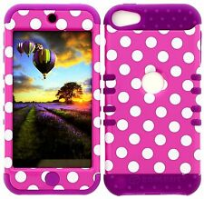 iPod 5 Case, iPod Touch 5 Case, iTouch 5 Case, Hybrid Cover Pink Polka Purple