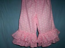 Pink/White Dot Custom Boutique Double Ruffle Pants size 12mo