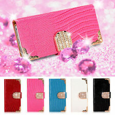 Luxury Bling Dimond Leather Flip Case Wallet Cover for iPhone Samsung Sony LG